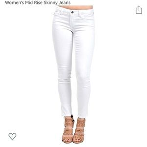 KanCan Women's Skinny White Denim